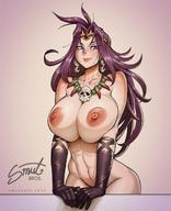 1girl abs areolae bbc-chan black_gloves blue_eyes blush breast_squeeze breasts cleavage collaboration commentary convenient_arm earrings english_commentary forehead_jewel gloves hair_intakes highres huge_breasts jewelry lips long_hair making_of naga_the_serpent necklace nipples nude pinup purple_hair skull_necklace slayers smile solo taboolicious tiara // 1020x1257 // 202.1KB
