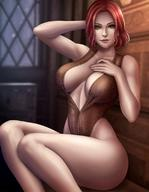 1girl breasts cleavage female female_only flowerxl large_breasts looking_at_viewer solo the_witcher triss_merigold // 880x1135 // 99.3KB