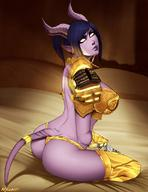 1girl armor ass breasts demon_horns draenei female horns huge_breasts kneeling looking_at_viewer nyuunzi paladin short_pointy_ears sideboob solo tail warcraft white_eyes // 850x1100 // 131.8KB