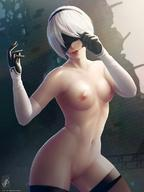 1girl areolae black_dress blindfold breasts dress georgy_stacker hairband highres nier_(series) nier_automata nipples nude pussy short_hair side_slit silver_hair small_breasts smile solo sunlight thighhighs yorha_no._2_type_b // 850x1133 // 103.7KB
