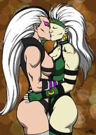 2girls ass breasts eyeshadow female kaywest khameleon kissing large_breasts leotard mortal_kombat sindel white_hair yuri // 880x1232 // 179.1KB