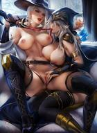 2girls alcohol areolae armor arrow ashe_(league_of_legends) ashe_(overwatch) blizzard_entertainment blue_eyes bra breasts breasts_out_of_clothes bridal_gauntlets clitoris clothes drink female female_only fingering glass hat high_resolution hood labia large_breasts league_of_legends lesbian_sex licking_lips looking_at_viewer multiple_girls necktie nipples nude open_clothes open_shirt overwatch pantsu quiver red_eyes sakimichan sex shirt sitting spread_legs thighhighs underwear undressing vagina very_high_resolution white_hair wine yuri // 1200x1650 // 277.1KB