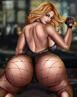 ass big_breasts birds_of_prey black_canary breasts cleavage dc female female_only flowerxl huge_ass large_breasts looking_at_viewer looking_back solo // 880x1097 // 125.3KB