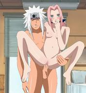 age_difference black_eyes blue_headband blush body_blush breasts cheating excessive_pussy_juice forehead_protector green_eyes hand_on_hip haruno_sakura high_resolution indoors jiraiya jirsaku long_hair naruto naruto_(series) ninja nipples old_man os_(artist) penetration penis pink_hair pink_pussy red_headband sex size_difference small_breasts spiky_hair stand_and_carry_position standing standing_sex tongue tongue_out uncensored vaginal white_hair window // 1220x1320 // 219.8KB