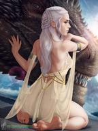 1girl a_song_of_ice_and_fire armlet back bare_back barefoot blue_eyes braid breasts daenerys_targaryen dated dragon drogon feet female forehead french_braid game_of_thrones georgy_stacker high_resolution jewelry lips long_hair looking_back medium_breasts nose signature soles solo_focus tied_hair toes watermark web_address white_hair // 1280x1707 // 290.1KB