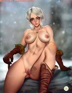 1girls abs ass boots breasts ciri didi_esmeralda female female_only gloves highres large_breasts muscular muscular_female necklace nipples nude pussy sitting solo text the_witcher the_witcher_3:_wild_hunt thick_thighs watermark white_hair wide_hips // 1220x1565 // 185.0KB