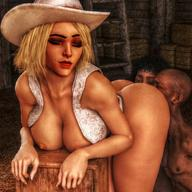 1boy 2girls 3d ashe_(overwatch) ass ass_worship barn bent_over blonde_hair bottomless breasts closed_eyes cow_girl cybercole360 dark-skinned_female dark-skinned_male eyebrows eyelashes eyeliner eyes eyeshadow female from_behind games half-dressed half_naked hat licking licking_ass lips lipstick makeup male medium_breasts mole overwatch red_lipstick render short_hair tan tanned tanned_skin video_games xnalara // 920x920 // 147.7KB
