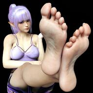 16:9_aspect_ratio 1girl 3d barefoot breasts dress feet feet_towards_viewer female high_resolution legs necdaz91_(artist) no_shoes original ponytail pov_feet purple_dress purple_eyes purple_hair short_pointy_ears sitting soles solo tied_hair toes // 1658x1664 // 309.6KB