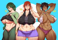 3girls areola_slip areolae armpits arms_behind_head bangs bare_shoulders black-framed_eyewear black_eyes black_hair blush braid breasts cameltoe clavicle cleavage cowboy_shot creatures_(company) curvaceous dark_skin elite_four female game_freak green_eyes green_hair hands_on_own_chest high_resolution huge_breasts island_kahuna jewelry lips long_hair looking_at_viewer lorelei_(pokemon) low_ponytail megane midriff momi_(pokemon) multiple_girls natedecock navel necklace nintendo nipples olivia_(pokemon) orange_eyes orange_hair parted_lips plump pokemon pokemon_(game) pokemon_character ponytail puffy_areolae short_hair sidelocks simple_background sleeveless smile standing thick_thighs thighs tied_hair toned underboob // 2002x1390 // 317.4KB