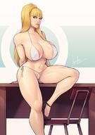 1girl asymmetrical_hair blonde blue_eyes breasts cleavage devilhs female female_focus high_resolution huge_breasts kolin large_nipples legs lips long_hair long_ponytail looking_at_viewer nipples ponytail side_ponytail simple_background sitting smile solo_focus street_fighter street_fighter_v thighs tied_hair uncensored // 1486x2112 // 206.3KB