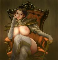 areolae black_hair breasts diablito_birriondo gloves large_breasts looking_at_viewer magic:_the_gathering open_clothes seated teysa_karlov thick_thighs thighhighs thighs throne tiara // 1080x1106 // 106.4KB