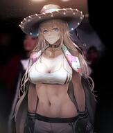1girl blue_eyes boxing_gloves breasts choker cleavage fx-05_(girls_frontline) girls_frontline greatspirite highres large_breasts light_brown_hair long_hair navel shorts solo very_long_hair // 1228x1450 // 160.5KB