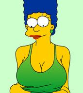 animated blue_hair breasts breasts_out_of_clothes clothing colette_choisez dithering female female_only large_breasts low_resolution marge_simpson nipples solo tank_top the_simpsons third-party_edit // 412x462 // 177.6KB
