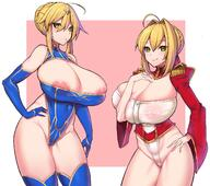:q ahoge areola_slip areolae artoria_pendragon artoria_pendragon_(lancer)_(fate) bare_shoulders blonde_hair blue_gloves blue_legwear blush breasts cleavage covered_navel elbow_gloves epaulettes erect_nipples erect_nipples_under_clothes fateextra fategrand_order fate_(series) funaya_(a2brasd) gloves green_eyes hair_ornament hand_on_hip high_resolution large_breasts leotard looking_at_viewer nero_claudius_(fate) nipple_slip nipples puffy_sleeves thighhighs tongue tongue_out // 1386x1228 // 222.3KB