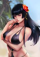1girl bangs beach bikini black_bikini black_hair blunt_bangs breast_hold breasts cleavage collarbone covered_nipples dead_or_alive dead_or_alive_5 flower hair_flower hair_ornament highres large_breasts long_hair looking_at_viewer mole mole_under_mouth nyotengu o-ring_bikini parted_lips purple_eyes smile solo swimsuit upper_body yuuko_takega // 960x1360 // 166.3KB