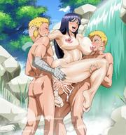 1girl 2boys breasts cum cyberunique double_penetration duplicate group_sex highres hyuuga_hinata large_breasts multiple_boys naruto nipples nude puffy_nipples pussy sex threesome uncensored uzumaki_naruto vaginal // 1200x1282 // 293.4KB