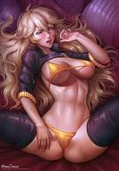 1girl aroma_sensei bikini blonde breasts cropped_jacket female hair_between_eyes high_resolution jacket jewelry large_breasts lips long_hair looking_at_viewer lying nail_polish navel on_back open_mouth pendant purple_eyes rwby solo spread_legs swimsuit thighhighs yang_xiao_long yellow_bikini yellow_swimsuit // 1080x1543 // 246.7KB