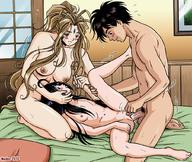 1boy 2girls bed belldandy black_hair blush breasts brown_hair facial_mark female head_in_lap holding_hands leg_lift long_hair lying madoc male male_pubic_hair medium_breasts morisato_keiichi multiple_girls navel nipples nude oh_my_goddess! on_bed penis pubic_hair pussy_juice sex skuld small_breasts spread_legs uncensored vaginal very_long_hair // 1020x862 // 215.7KB