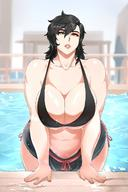 1girl bikini black_hair breasts brown_eyes cleavage curvy donaught female huge_breasts looking_at_viewer navel parted_lips plump pool smile solo wide_hips // 1080x1626 // 241.3KB