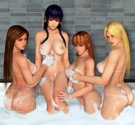 3d 4girls areolae ass back bath bathroom black_hair blonde_hair breasts brown_hair dark_skin dead_or_alive fatal_fury female foam helena_douglas kasumi_(doa) king_of_fighters large_breasts long_hair multiple_girls nipples nude nyotengu radianteld shiranui_mai shower showering sitting source_filmmaker // 1080x1002 // 204.4KB